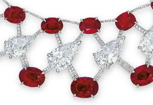 Red rubies and colorless diamonds