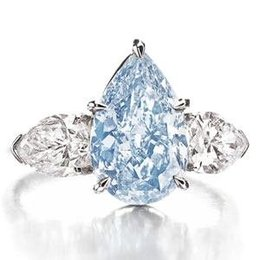 3,2 carat fancy blue diamond ring