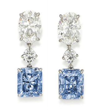 Blue Diamond earrings high priced at auction