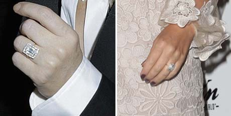 Kylie Minogue engagement ring closeup
