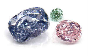 Green, Blue and pink colored diamonds