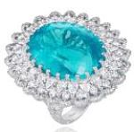 Diamond jewelry Paraiba tourmaline ring gold made (photo 1)