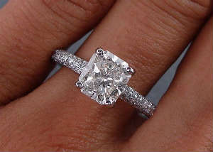 Radiant cut diamonds engagement ring