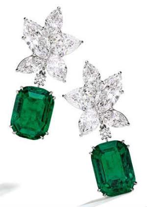 green diamonds earrings