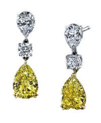 Yellow diamond earrings eardrops