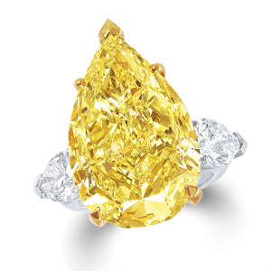 Pear shaped yellow diamond ring