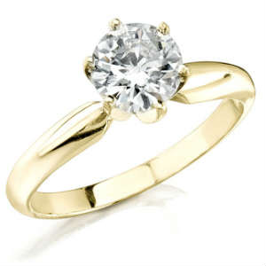 Yellow Gold Diamond Ring Solitaire