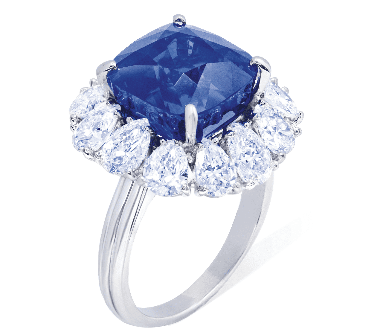 Kashmir sapphire and diamond ring