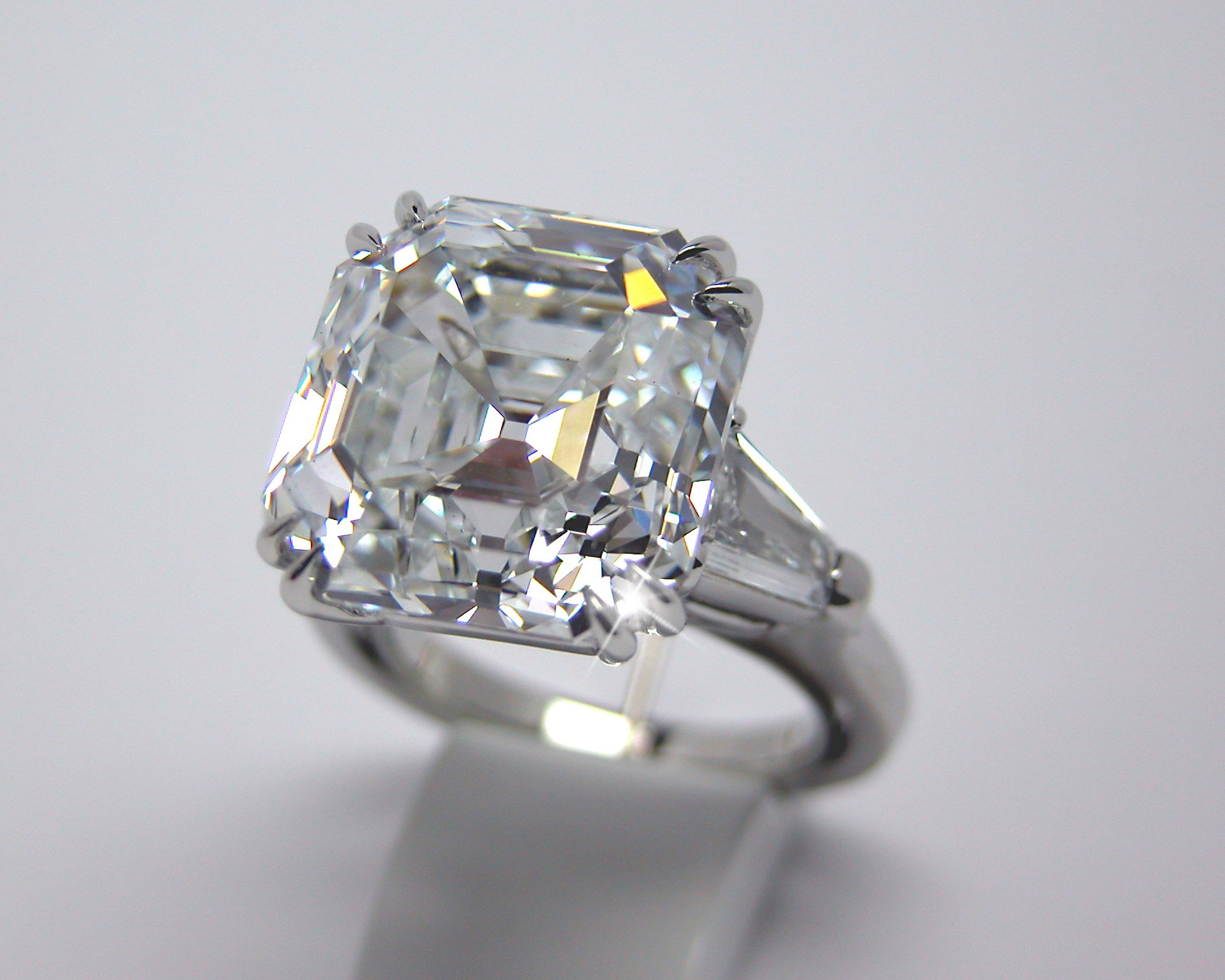 vintage asscher cut side estate top diamond jewelry product view ring