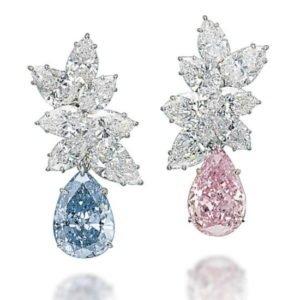Pear shape diamond earrings pink and blue