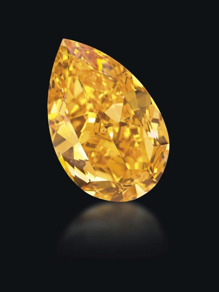 Fancy orange pear shape diamond of 14.82 carats
