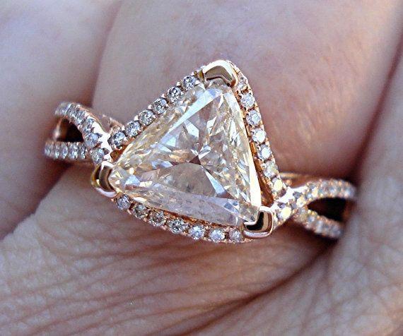 Trillion cut diamond set in rose gold