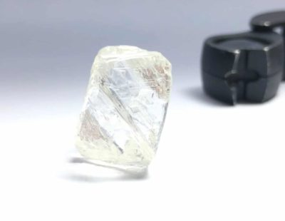 A large rough diamond of 95ct. on its way to Antwerp for viewing