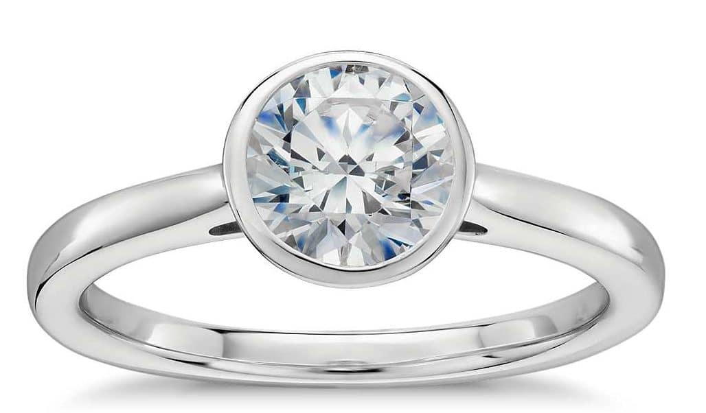 Diamond ring with bezel setting